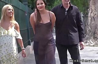 Hot slave in see through dress in public.  xxx porn