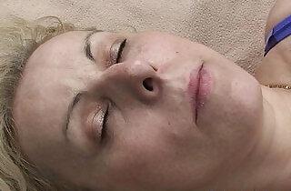 Blonde granma swallows two cocks near lake.  xxx porn