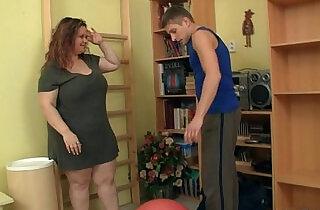 Cute fatty seduces fitness trainer.  xxx porn