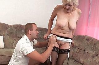Grandma in stockings gets facial.  xxx porn