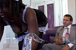 Black Maid Skyy Black takes care of the master of the house.  xxx porn