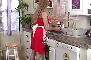 Mom gets overwhelmed by her throbbing pussy in the kitchen.  xxx porn