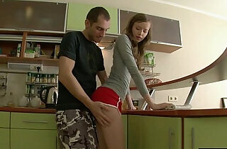 Tall and thin russian girl sodomized in the kitchen.  xxx porn
