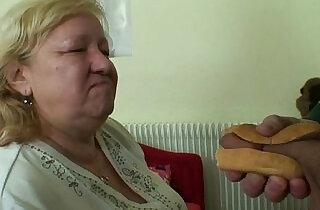 Busty granny tastes yummy cock.  xxx porn