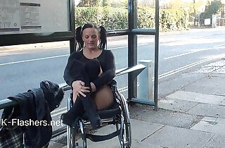 Paraprincess outdoor exhibitionism and flashing wheelchair bound babe showing.  xxx porn
