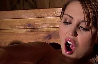 Horny Hanna Montada Fists Her Wet Pussy In The Steamy Sauna.  xxx porn