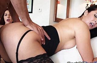 Taboo threeway with a stepmom in stockings.  xxx porn