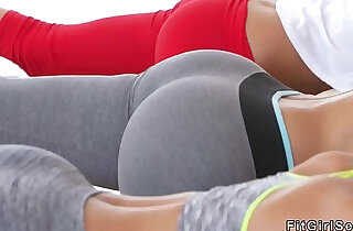 Coach bangs two hot fitness babes.  xxx porn