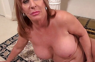 Big titted Mature mom on the rug in dress.  xxx porn