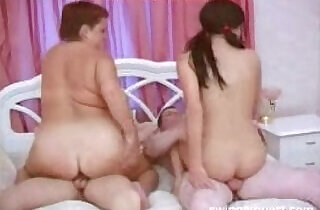Chubby Mom And Dad Join Son Daughter In Bed.  xxx porn
