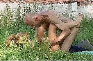 Old man is helping her cum.  xxx porn