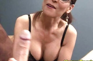 HJ loving old raven with sexy glasses.  xxx porn