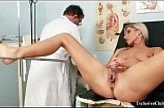 Foxy blond girl Leona vagina gyno checkup.  xxx porn