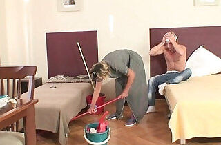 Cleaning lady her asshole fucked by young hunk.  xxx porn