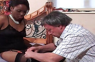 Faceful of black pussy for older white gent.  xxx porn