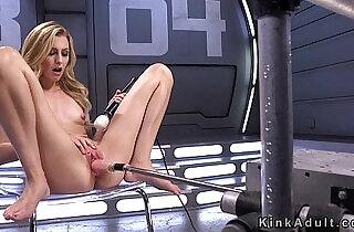 Slim blonde screws fast fucking machine.  xxx porn