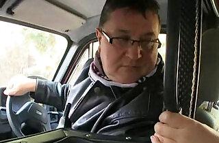 Hadjara catches a ride with an old man.  xxx porn