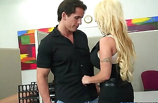 Huge titted office skank swallows load.  xxx porn