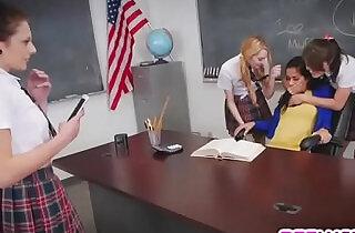 Teacher gets his ass fucked by three lesbian teen students.  xxx porn