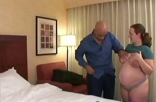 Pregnant slut gets her shaved muff filled on bedbig.  xxx porn