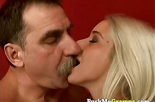 Stunning blonde fucked by dirty old man.  xxx porn