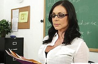 Brunette teacher Kendra Lust gets facialized.  xxx porn