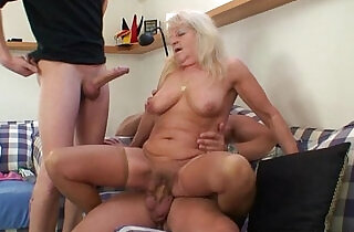 Hot 3some party with blonde grandma.  xxx porn