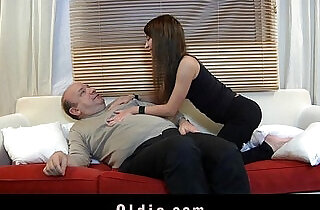 Old man devoured by a young beautiful creature.  xxx porn