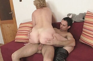 Old bitch jumps on young cock.  xxx porn