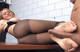 Footsex and fucking in ripped up nude pantyhose.  xxx porn