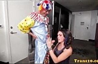 Beautiful tranny fucked black clown.  xxx porn