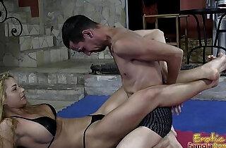 Victorious Wrestling Domina Jerks Off Her Loser Slave.  xxx porn
