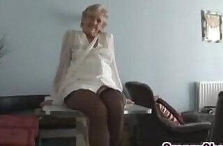 Kinky Granny Teasing Her Mature Pussy.  xxx porn
