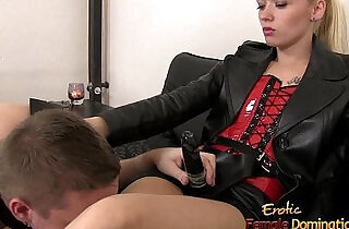 Slave Sucks His Mistresses Big Strap.  xxx porn