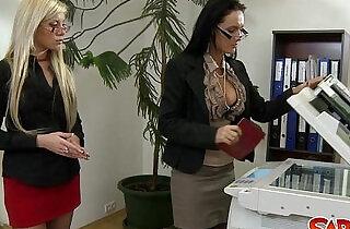 Office Lesbians Go At It.  xxx porn