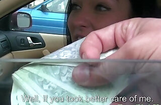 Flashing taxi girl offered cash for sex.  xxx porn