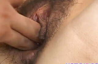 Kurumi Katase has hairy pussy stuffed with her vibrator and shlong.  xxx porn