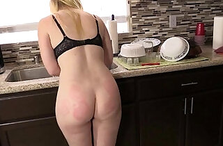 Spanking and Foot Worship on the Counter.  xxx porn