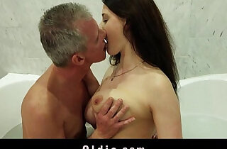 Busty nasty wild girl gives old man wet pleasing in the bathtub.  wet cunt  ,  wild fuck   xxx porn