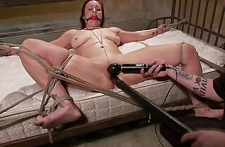 Tied up sub toy fucked while gagged by her master.  xxx porn