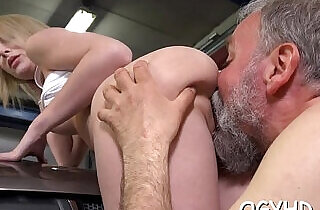 Young playgirl licked by an old guy.  xxx porn