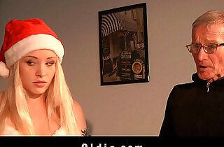 Dirty blonde hard ass slapped by Santa Claus.  xxx porn
