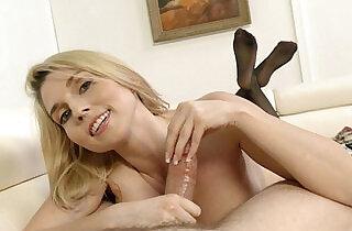 Christie Stevens jerking off a cock.  xxx porn