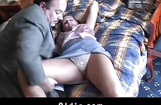 Moustache old guy and big jugged babe sucking and fucking in hotel room.  xxx porn
