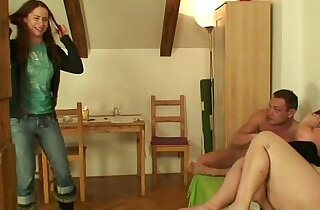 Plump mother fucks him as his wife leaves.  xxx porn