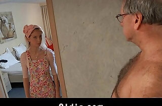 Horny maid fucks an oldman customer.  so young  ,  young-old   xxx porn