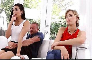 Step Daughter And Real Daughter Compete For Dad On Fathers Day.  xxx porn