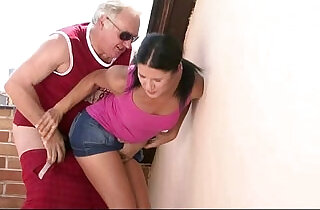 Horny old man seduces his sons GF.  xxx porn